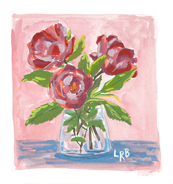 deep pink roses on pink background sm