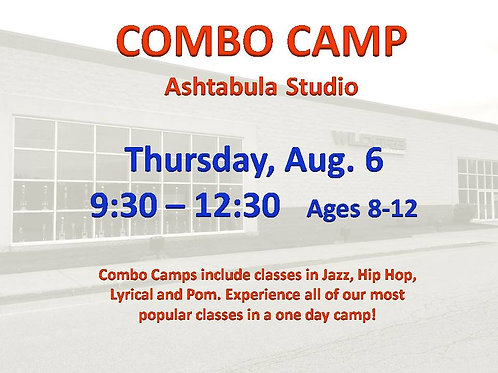 Aug. 6 Dance Camp at our Ashtabula Studio