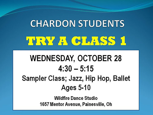 4:30 Trial Class for Chardon Students, ages 5-10