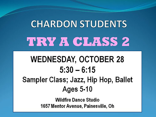 5:30 Trial Class for Chardon Students, ages 5-10