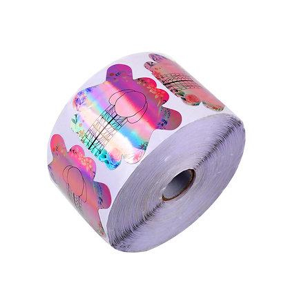 500pcs Pink Holo Nail Forms