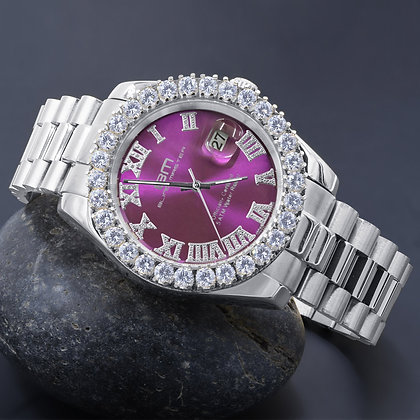 Purple Dial Stainless Steel White CZ Watch