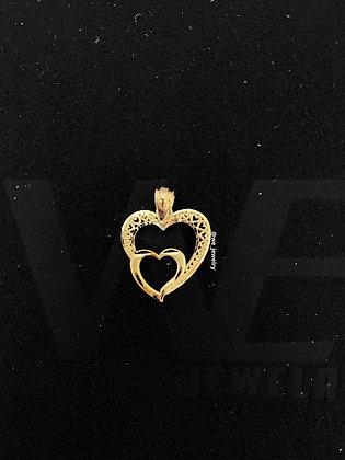 10K Double Heart Pendant