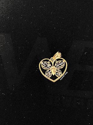 10K Heart Butterfly Pendant