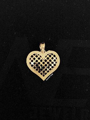 10K Pattern Heart Pendant