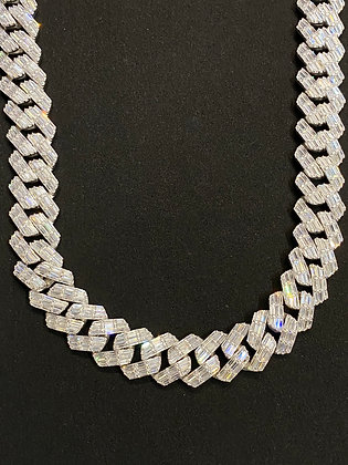 18mm White Cuban Emerald Cut Iced-Out Chain