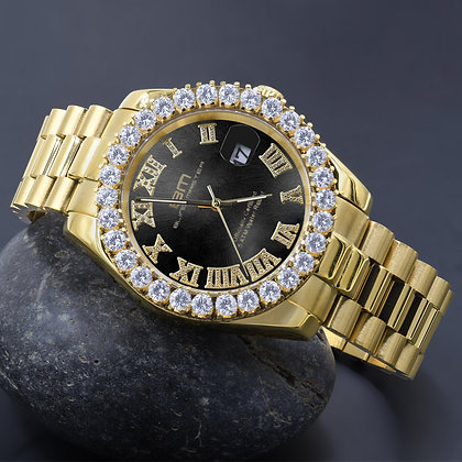 Black Dial Stainless Steel CZ Gold Watch