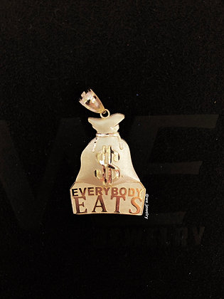 "10K ""Everybody Eats"" Money Bag Pendant"