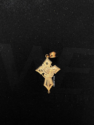 10K Praying Hand Cross Pendant