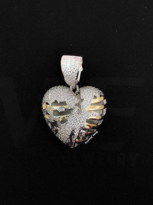 925 Sterling Silver Crushed Heart Pendant