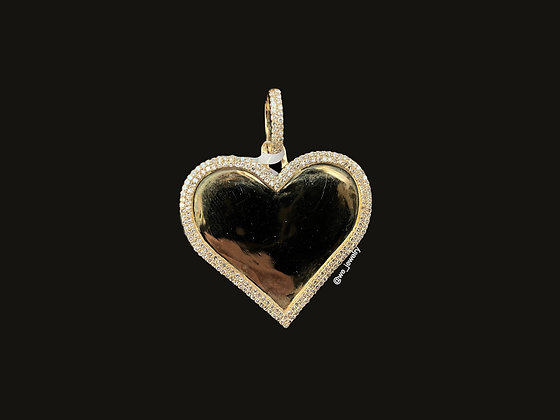 10K Yellow Gold Diamond Heart Picture Pendant