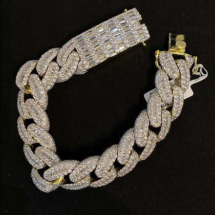 18mm Yellow Cuban Baguette Iced-Out Bracelet