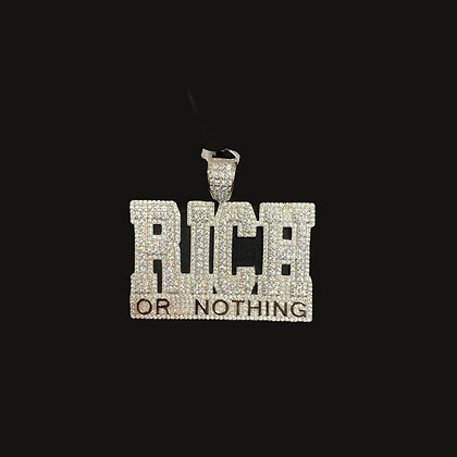 """925 Sterling Silver """"Rich or Nothing"""" Pendant"""