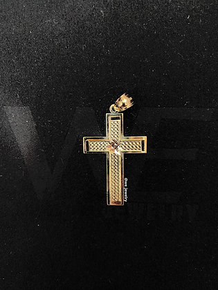 10K Box Cross Pendant
