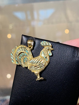 10K Gold Rooster Pendant
