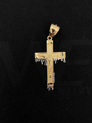 10K Two-tone Dripping Crucifix