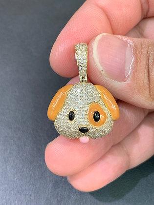 "10k Yellow Gold Diamonds ""Dog Emoji"" Pendant"