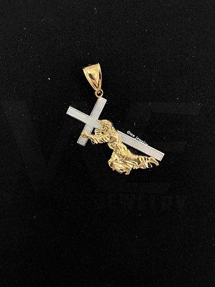 10K Two-tone Jesus Carry Cross Pendant