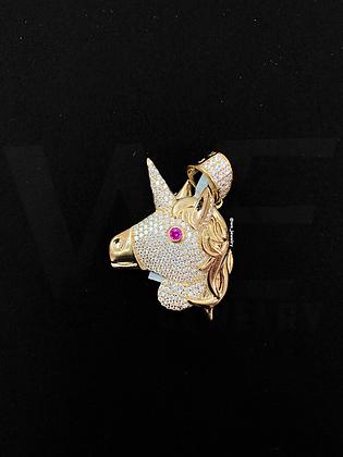 925 Sterling Silver Golden Unicorn Pendant