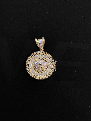 10K Two-tone Versace with CZ Pendant