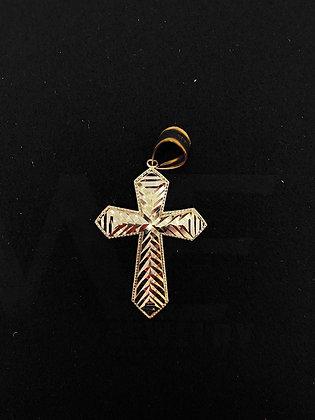 10K Stripe Cross Pendant