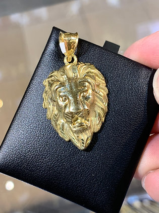 10K Gold Lion Head Pendant