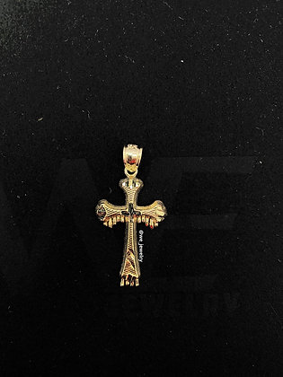 10K Dripping Cross Pendant