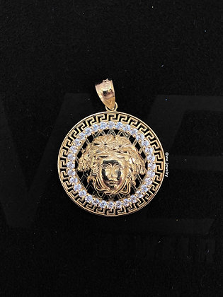 10K Gold Versace with CZ Pendant
