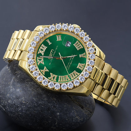 Greem Dial Stainless Steel CZ Gold Watch