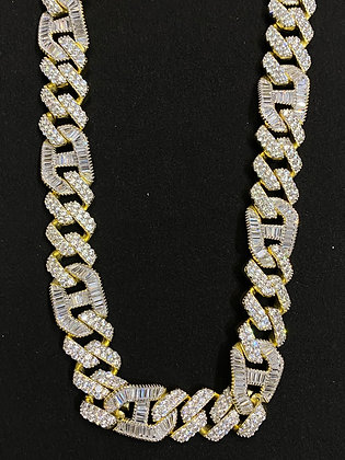 15mm Yellow Cuban Gucci Baguette Iced-out Chain