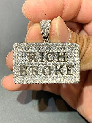 "925 Sterling Silver ""Rich Broke"" Pendant"