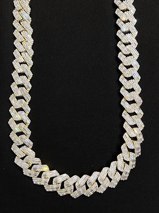 18mm Yellow Cuban Emerald Cut Iced-Out Chain