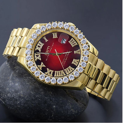 Red Dial Stainless Steel Gold CZ Watch