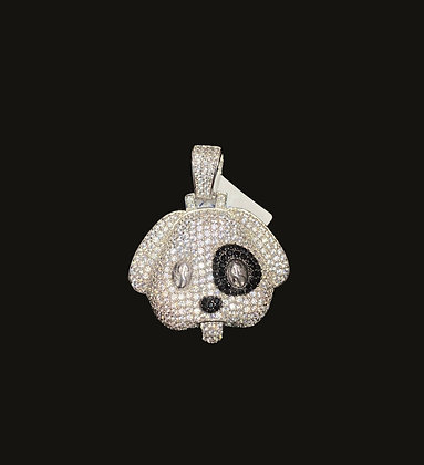 925 Sterling Silver Dog Emoji Pendant