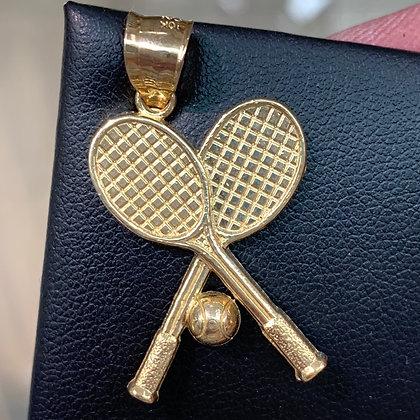 10k Tennis Racket Pendant