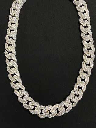 14mm Yellow Cuban Baguette Iced-Out Chain