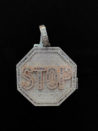 925 Sterling Silver Stop Sign Pendant