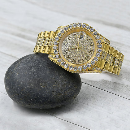Diamond Dial Stainless Steel CZ Gold Watch