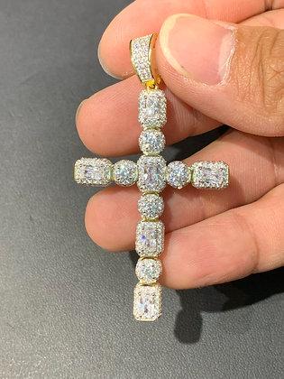 "925 Sterling Silver ""Baguette Cross"" Pendant"