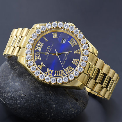 Blue Dial Stainless Steel CZ Gold Watch