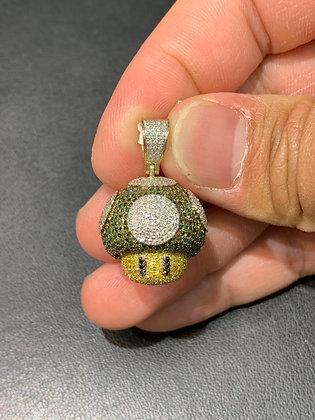 """10k Yellow Gold 3D """"1-UP Mushroom (Mario Mushroom)"""" Pendant"""