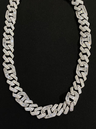 15mm Cuban Gucci Baguette Iced-out Chain