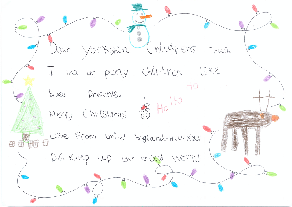 Emily supports Yorkshire Children's Trust this Xmas time