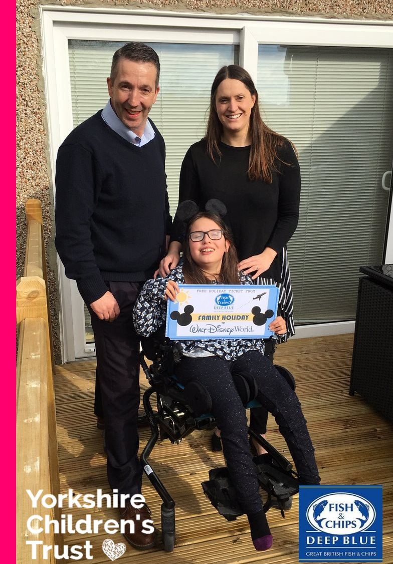 Jessie is going to Disney thanks to Deep Blue Fish and Chips, supporters of Yorkshire Children's Trust, a local charity, helping local children.