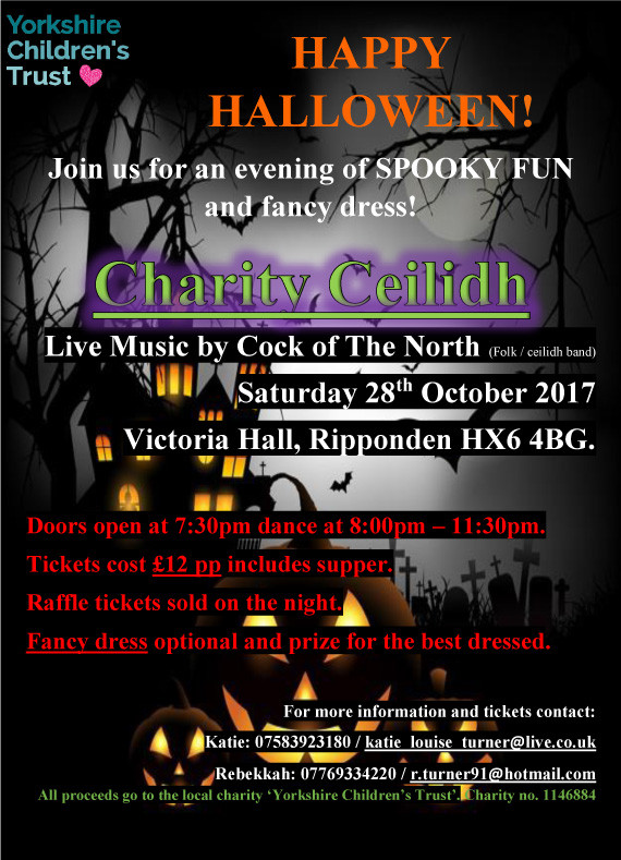 Happy Halloween - Charity Ceilidh with music from Cock of the North 28 October 2017 at Victoria Hall in Ripponden - Tickets 12 per person
