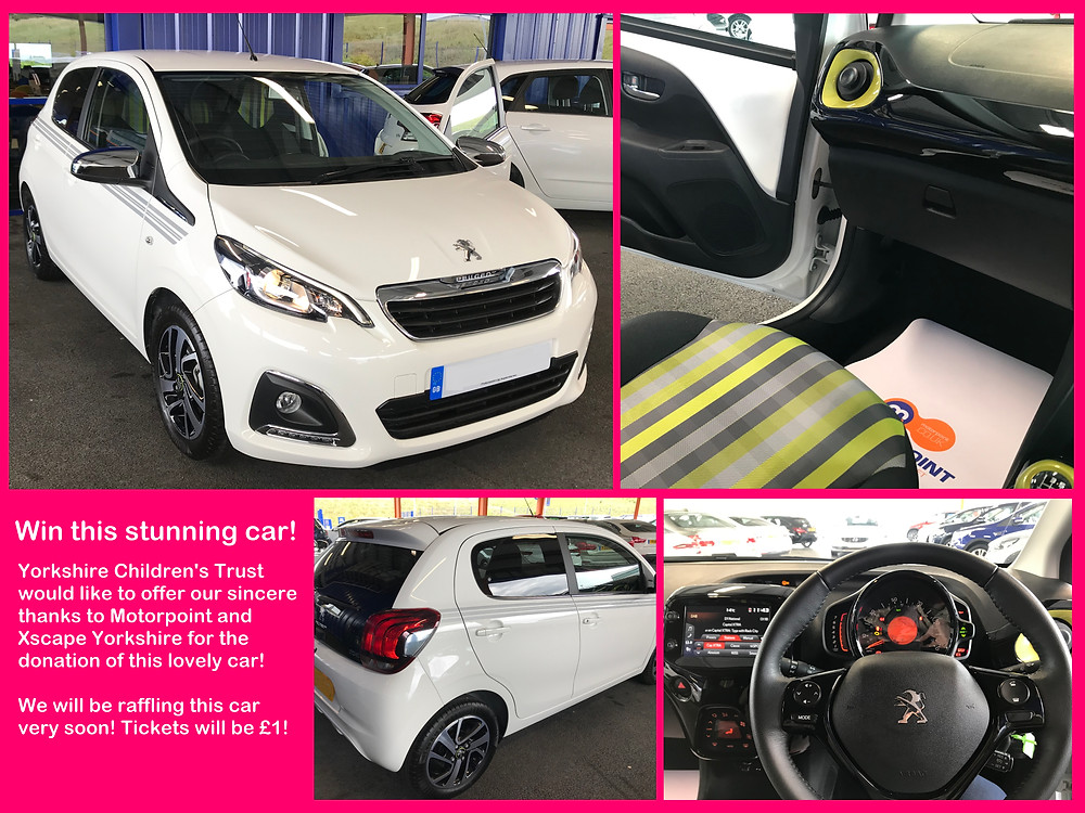 Motorpoint and Xscape Yorkshire have donated this stunning Peugeot 106 to Yorkshire Children's Trust to raffle to raise essential funds to support local children.