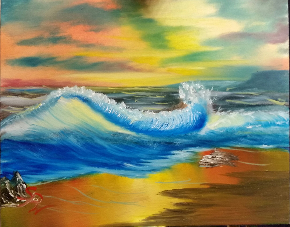 Sunset Over The Waves by Steve Woods. Supporting Yorkshire Children's Trust with art