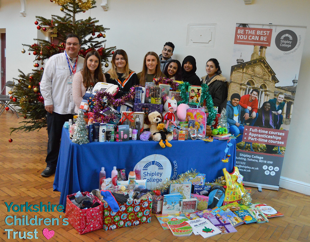 Shipley College in Saltaire collecting for the 2017 Christmas appeal for Yorkshire Children's Trust