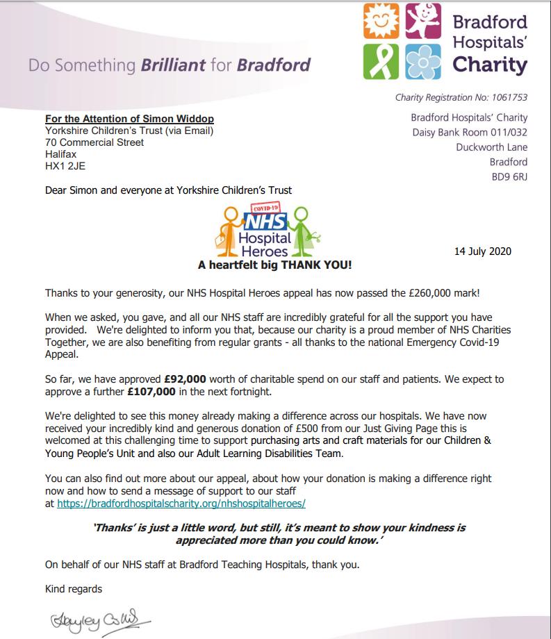 YCT donated arts and crafts to Bradford Royal Infirmary