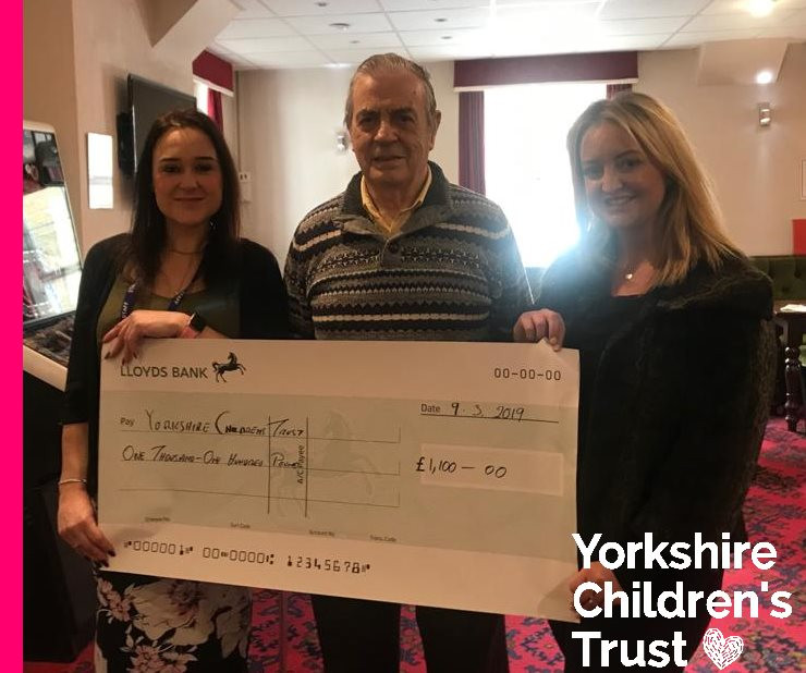 Overseas Buffaloes Association in Calderdale donate £1100 to Yorkshire Children's Trust, a local charity, helping local children.